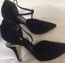 Vintage Black Suede Heels by Chanel     sz 37