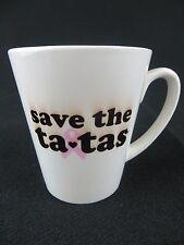 SAVE THE TA-TAS COFFEE MUG - 12 OUNCE CANCER AWARENESS RIBBON COFFEE MUG