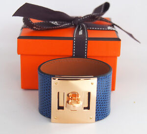 RARE New Authentic HERMES Kelly Dog Shiny Lizard bracelet Blue Sapphire GHW Gold