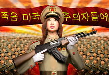 North KOREA Anti-American Propaganda Poster Print GIRL IN UNIFORM AKM A3 + #N21