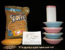 Tupperware 4 PINK BLUE Classic Cereal Bowls #155 ~Modular Mates Sugar Shaker