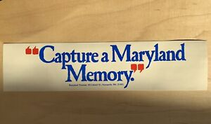 Vintage 1980s Capture a Maryland Moment Decal Sticker 80s Travel Trip MD History