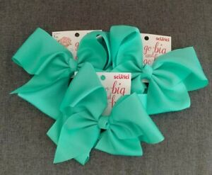 SCUNCI 1 PC HAIR CLIP GO BIG AND GO BOW GREEN NEW PACK OF 3