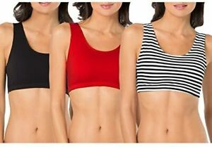 Fruit Of The Loom Women's Built-Up Full Coverage Cotton Sports Bra 3 Pack