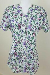 LANDAU~Women's Sz S~Made Better White Green Purple Floral Scrub Top Uniform NEW.