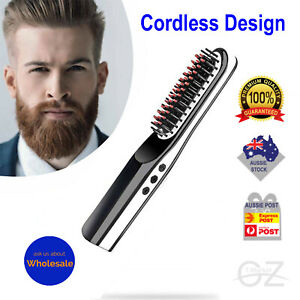 2019 Genuine 500 Beard Straightener Electric Hair Brush Comb Cordless Portable