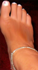 Anklet Chain thin pretty anklet chain Figaro Solid Real Sterling Silver .925