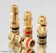 8 Gold Speaker BINDING POSTS Screw Fit 4mm Sockets Connectors for Banana Plugs