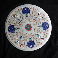 White Marble Table Top Mother of Pearl Lapis Marquetry Inlaid Art Outdoor Decor
