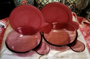 2 Cranberry Corning Ware Pyrex Vision -150-B  Glass Grab It Bowls with Lids