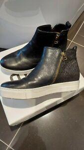 BNIB MJUS Norton Black Leather Trainers Ankle Chelsea Boots UK 5