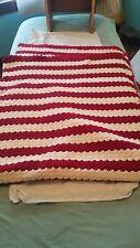 71x57 Handmade Afghan Crocheted Blanket red and white