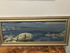 Lovely Original Blue  Landscape Oil Painting in Frame signed  By Russian Artist