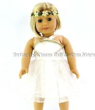 Pixie Fairy Dress Gold /White +Headband 18 in Doll Clothes Fits American Girl