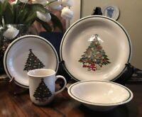 Mount Clemens Pottery Christmas Tree Plate, Salad Plate, Bowl & Cup -4 Piece Set