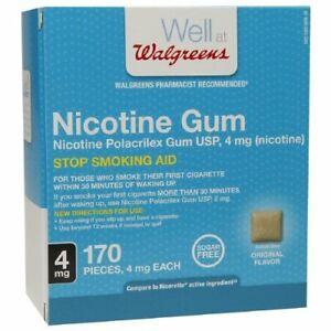 Walgreens Nicotine Gum, 4mg, Original Flavor, 170 Pieces (Stop Smoking Aid)