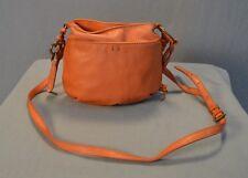 Lucky Brand Small Peach Leather Cross Body Purse Fringe Western Bag