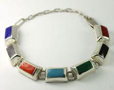 """Vintage Sterling Silver Multi Gemstone Inlay Bar Link Adjustable Bracelet 6""""-8"""""""