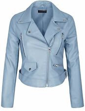 Women's Faux Leather Zip Up Everyday Bomber Jacket With Patch S,M,L