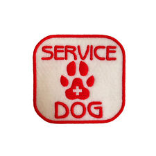 Embroidered Service Dog Medical Iron & Sew On Patch Patch On White Felt