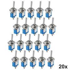 20x Miniatur Kippschalter Subminiatur, 2-polig Ein-Aus Schalter, mit Lötösen