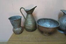 Lot of 3 Vintage Hand Hammered United Arab Republic Copper Bowl Ewer Jug Cup