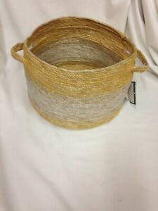 "10"" x 8"" Striped Tapered Basket with Zig Zag Stitching Yellow/Natural -Threshold"