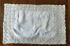 Vintage Ivory Embroidery Table Mat or Tray Cloth.