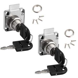 2 Pack Cylinder Cam Drawer Lock Desk Wardrobe Cabinet Locker Furniture Hardware