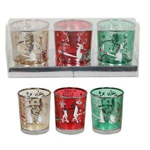 Village Candle Set of 3 Reindeer Design Votive Holders Gift NEW