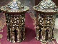"""Pair of Real Vintage Handmade End Table Inlaid Mother of Pearl  12.4"""""""
