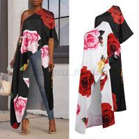 US Women One Shoulder Beach Shirt High Low Tops Floral Cocktail Blouse Dress Tee
