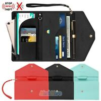Anti-Theft RFID Passport Holder Wristlet Travel Wallet Card Phone Zipper Purse