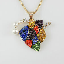 New Enamel Colorful Crystal Pearl Tropical Fish Pendant Sweater Chain Necklace