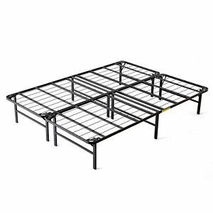intelliBASE Lightweight Easy Set Up Bi-Fold Platform Metal Bed Frame, Queen