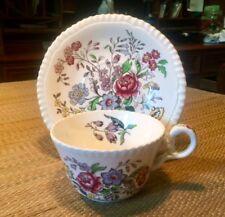 """Vintage Copeland & Spode England """"Romney""""  228 Cups & Saucer Floral"""