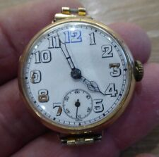BEAUTIFUL 9 CARAT GOLD OFFICERS GENTS TRENCH WRISTWATCH // WORKING
