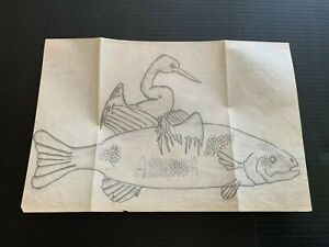 Vintage 1980's Bird and Fish Pencil Drawing