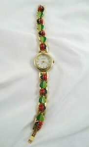 Ladybug Leaf Lenox Watch Linked Bracelet Red Green Working