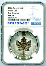 2020 $5 CANADA 1 OZ SILVER MAPLE LEAF NGC MS70 RARE FIRST RELEASES BLUE LABEL