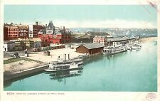 Postcard Paddle Steamer at Dock Foot of Jackson Street St. Paul MN River Boat