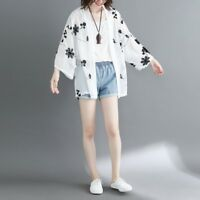Lady Chiffon Kimono Cardigan Japanese Top Blouse Beachwear Cover Up Embroidered