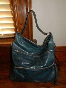 $268 HOBO INTERNATIONAL Marley Blue Leather Shoulder Handbag Large Boho