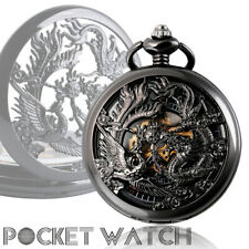 Unique Phoenix and Dragon Skeleton Hand Winding Mechanical Pocket Watch