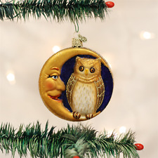 OLD WORLD CHRISTMAS OWL IN MOON GLASS CHRISTMAS HALLOWEEN ORNAMENT 26064