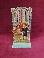 Antique Vintage Victorian Valentine's Day Card 3-D Die Cut Floral Girl Germany