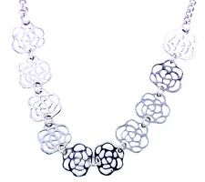 10 connected cutout rose flower chain choker / necklace