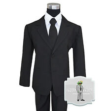 Boys Suit Black Tuxedo Infant to Teen Sizes 2 3 4 5 6 7 8 10 12 14 16 18 20