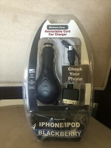 USB Car Charger iPhone 4 BlackBerry Android Rapid Charging Retractable Cable
