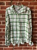 Umgee Women's Shirt Top White Green Black Crinkle High Low Blouse Size Large